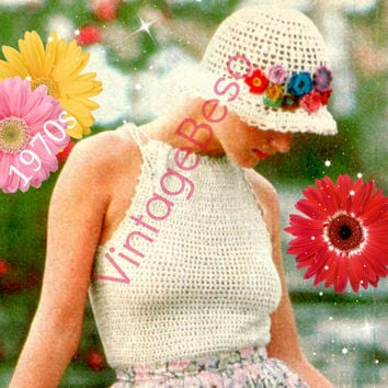 Top Crochet Pattern Vintage 70s Halter Top Pattern Romantic Summer Feminine Hat Pattern Hat Band Flowers Instant Download PdF Pattern