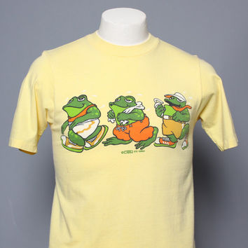 70s CRAZY Shirts T-SHIRT / FROG Joggers Marathon Runners, S - M