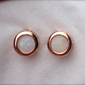 Rose Gold Australian Opal Bezel Earrings Vermeil by OpalEmbers