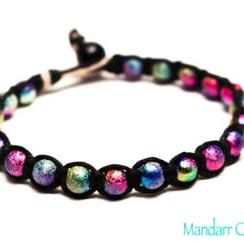 Galaxy Bracelet, Handmade Multicolor Stardust Bead Jewelry, Macrame Hemp, Gifts for Her, Outer Space, Astronomy