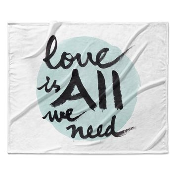 "Qing Ji ""Love Is All We Need"" Teal Black Fleece Throw Blanket"