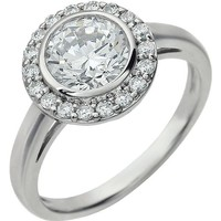 "Sterling Silver White CZ Bezel Set Halo Ring - ""April"""