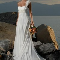 Luxurios Empire Waist One-Shoulder Chiffon Beach Wedding Dress With Flowers