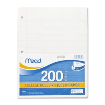 mead notebook paper, college ruled, 200 sht/pk, white Case of 6