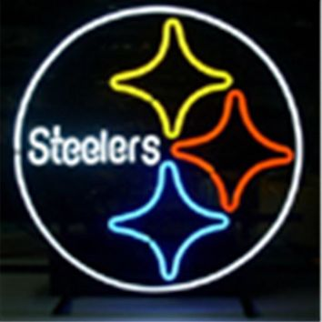 NEON SIGN For PITTSBURGH STEELERS  Signboard REAL GLASS BEER BAR PUB  display  christmas Light Signs 17*14""