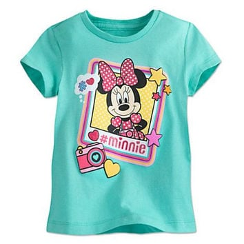 Disney Store Minnie Mouse Picture Tee - Girls Size:10/12 - 100% Organic Cotton