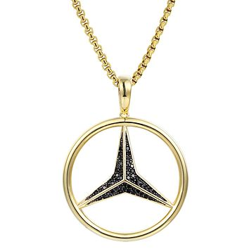 Sterling Silver Luxury Car Logo Black Iced Out Pendant Free Chain