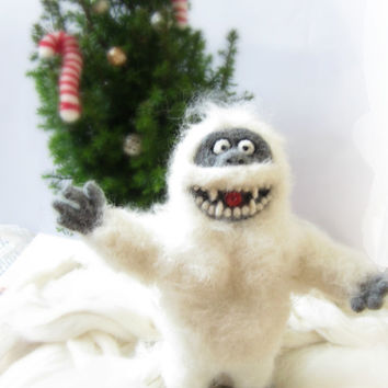 Abominable Snowman, Needle Felted Yeti Ornament,Christmas Decoration,Wool Felt Ornament,Cute Yeti, Holiday Gift,Bumble