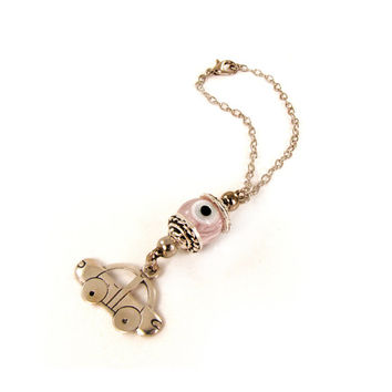 Car Hanging Ornament, Car Mirror Hanging, Car Pink Charm Dangler, Car Decoration, Pink Glass Eye Bead, Evil Eye Hanging