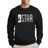 The Flash Star Lab letters printing students sweatshirt men autumn round neck hoodies casual pullovers brand clothing