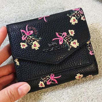COACH New fashion floral print leather wallet purse handbag Black