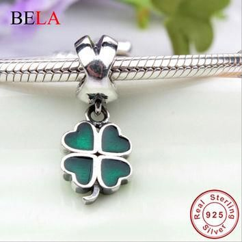 TOP Quality 925 Sterling Silver Four-Leaf Clover Dangle Charm Beads Fit Original Pando