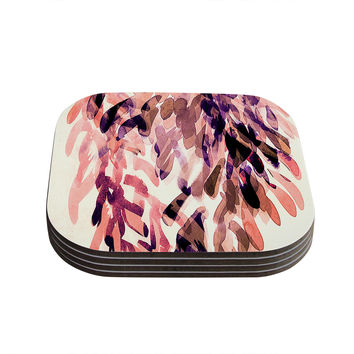 "Iris Lehnhardt ""Abstract Leaves I"" Orange Brown Coasters (Set of 4)"