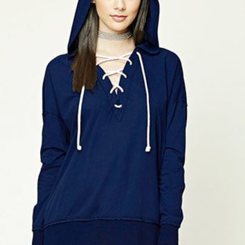 Lace-Up Hooded Top