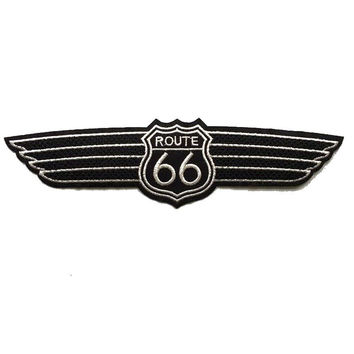 1Pcs Large route 66 wings black embroidered patch iron-on highway road sign biker emblem