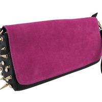 Black Purse with Hot Pink Suede Flap and Spikes