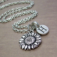 Silver Sunflower Charm Necklace, Initial Jewelry, Personalized Sunflower Charm Necklace, Personalized Gift