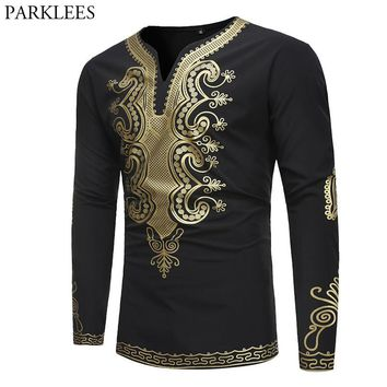 Mens Hipster Hip Hop African Dashiki Top Shirts 2018 New Fashion Classic V Neck Long Sleeve Tee Shirt Homme Casual Brand Tshirt