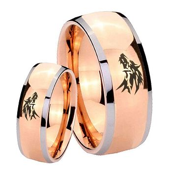 His Hers Rose Gold Dome Wolf Design Two Tone Tungsten Wedding Rings Set