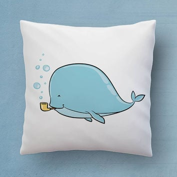 Cute Whale Pillow - The Perfect Bedroom Pillow For Ocean overs - Cute Decorative Pillow 18x18 inches