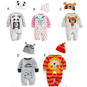 Cute Animal Baby Infant Girls Boys Playsuit Romper+Hat Costume Outfits