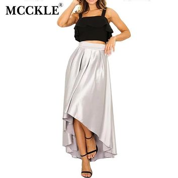 MCCKLE 2017 Summer Slip Satin Sash Ruffle Long Asymmetrical Skirt Apricot Loose High Waist Skirt Elegant Bow Party Women Skirt