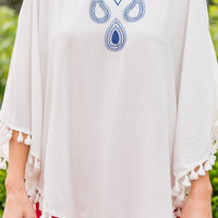 Tear Drops Fall Top, White