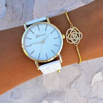 Bloomed Flower Watch & Bracelet Set