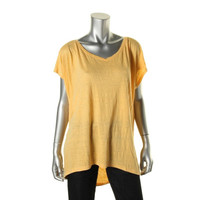 Eileen Fisher Womens Linen Ribbed Pullover Top