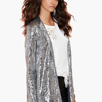 Silver Glitter Long Sleeve Long Cardigan