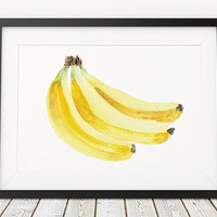 Banana poster Kitchen print Nursery print Fruit art ACW228