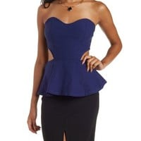 Cobalt Strapless Cut-Out Peplum Top by Charlotte Russe