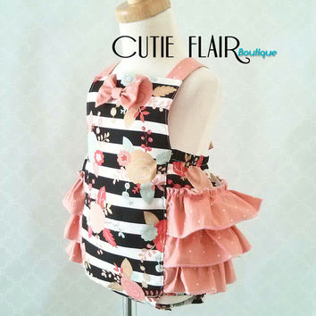 Baby Girl Romper - Baby Retro Romper - Cake Smash Outfit - Snap Crotch Sunsuit - Ruffled Romper - Baby Jumpsuit  - 1st Birthday Romper