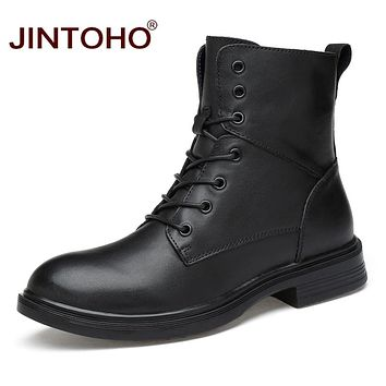 JINTOHO High Quality Winter Men Genuine Leather Shoes Fashion Black Mid-Calf Boots Male Genuine Leather Boots Winter Men Boots