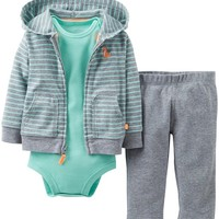 Carter's Baby Boys' 3 Piece Cardigan Set (Baby) - Heather/Green - Heather - Newborn
