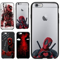 2016 Hot Selling 3D Super Cool Marvel Hero Deadpool Coque Fundas Black Soft Silicone Case For iPhone 5 5S 6 6S 6Plus Cover Case