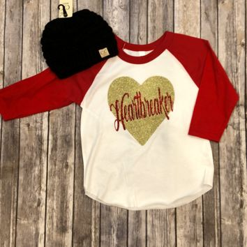 Kid's Red Glitter Heartbreaker White Body with Red Sleeves Shirt