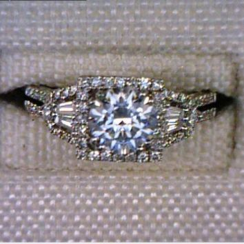 Lady's White Gold Princess Cut Diamond Center Engagement Ring