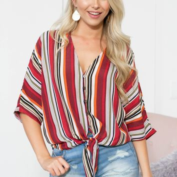 Jamaica Button Up Striped Knot Top