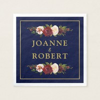 Rustic Floral Burgundy Navy Gold Personalized Paper Napkin