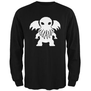 Chenier 8-Bit Cthulhu Black Adult Long Sleeve T-Shirt