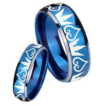 His Her Glossy Blue Dome Hearts and Crowns Two Tone Tungsten Wedding Rings Set
