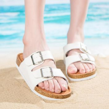 Summer casual beach slope with a word type slippers summer home adhesive shoes flat with couple cork word slippers