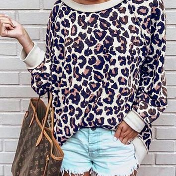 New Red Leopard Print Oversize Long Sleeve Round Neck Fashion Casual Slouchy Pullover Sweatshirt