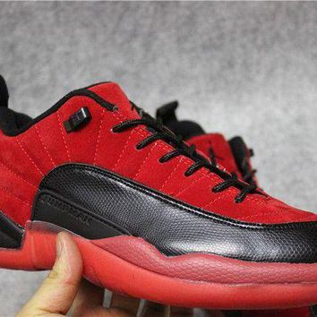 ONETOW Jacklish 2017 Raging Bull Air Jordan 12 Low Red Suede Black Cheap For Sale