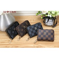 LV 2019 new fashion casual short canvas zip wallet