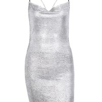 Setai Silver Metallic Backless Mini Dress
