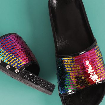 Studded Glitter Encrusted Sequin Open Toe Slide Sandal