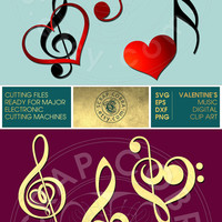 Valentine's Music - Heart, Bass, Treble Clef Clip Art - Vector Decals - SVG, eps, DXF, PNG for cards, transfers, cutting machines cv-118