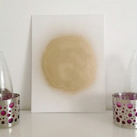 Golden Moon on White - mid-size canvas board Yoga Meditation Wall Art handmade written - original by misssfaith